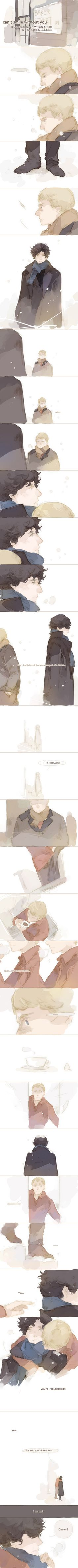 A Johnlock comic strip...ahhh this is so cute I can't... Art by Bloody Rabbit