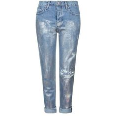 TopShop Moto Metallic Hayden Jeans (1.255.940 VND) ❤ liked on Polyvore featuring jeans, jeans/pants, topshop jeans, metallic jeans, low jeans and blue jeans