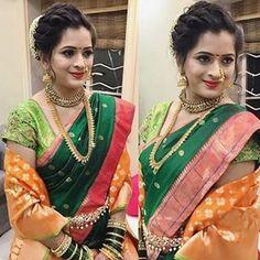 Maharashtrian wedding Hair and makeup artist Saree Hairstyles, Indian Hairstyles, Bride Hairstyles, Bun Hairstyle, Hairdo Wedding, Wedding Hair And Makeup, Saree Wedding, Wedding Wear, Wedding Dresses