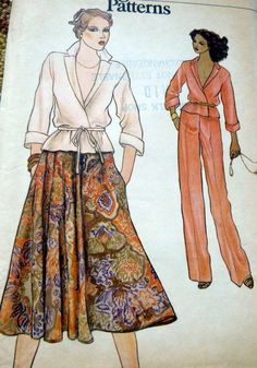 LOVELY VTG 1970s TOP SKIRT & PANTS VOGUE Sewing Pattern 10/32.5