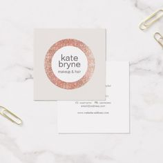 Modern Rose Gold Sequin Cosmetologist Beauty Salon Square Business Card - hair stylist gifts business cyo diy custom create