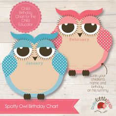 NEW PRODUCTS – Owl Birthday Chart | Busy Little Bugs