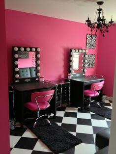 Pink and black vanity room pink room, black makeup room, black makeup Girls Bedroom, Bedroom Decor, Hot Pink Bedrooms, Modern Bedrooms, Bedroom Ideas, Home Hair Salons, Black Vanity, Beauty Salon Decor, Vanity Room