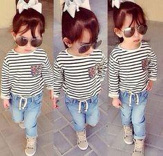 Kid's clothing girls stripe long sleeve t shirt + denim long pants twinset