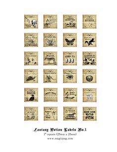 Antique Fantasy Potion Labels 1x1 inch sold by etsy