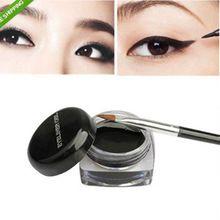1 Pcs Hot Sale preto longo - lastingt Eye Makeup Liner delineador Gel maquiagem cosméticos escova(China (Mainland))