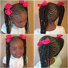 Twisted cornrow pigtails