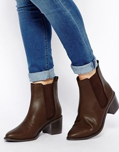 Brown Chelsea boots with a heal from ASOS