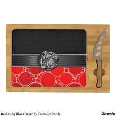 Red Bling Black Tiger Cheese Board