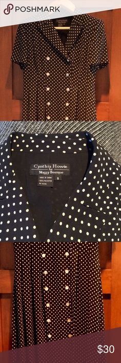 Another long polka dot dress! Long polka dot dress by Cynthia Howie for Maggy Boutique. Was perfect for a family wedding and so wonderful it still has a place in my closet. Fine quality and drape. Woven (not knit) and lined. Double breasted button front. Soft pleats flow from the bodice. Maxi for petite and possibly tea length on someone tall. EUC. Cynthia Howie Dresses Maxi