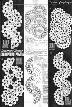 diagram for crochet design on website ленточное кружево Crochet Snowflake Pattern, Crochet Lace Edging, Freeform Crochet, Crochet Diagram, Crochet Doilies, Crochet Flowers, Crochet Stitches, Knit Crochet, Crochet Patterns