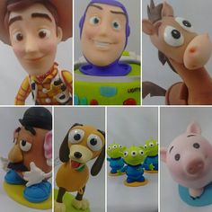 Personagens Toy Story enfeite de mesa!  Orçamentos por e-mail : contato@sahbiscuit.com #sahbiscuit #biscuit #porcelanafria #masaflexible #massinha #pastaflexible #handmade #feitoamao #pixar #disney #woody #buzzlightyear #mrspotatohead #senhorcabeçadebatata #porquinho #slink #alliens #pizzaplanet