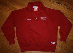 TEAM USA 2002 OLYMPIC Half-zip ROOTS SWEATSHIRT Red Pullover-Men's Medium-Flag