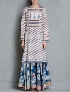 Beige-Blue-Red Block Printed Cotton Kurta by Raiman Sethi