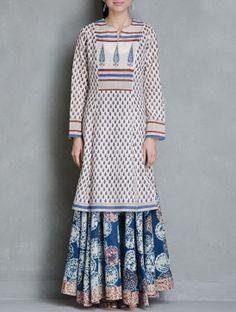Beige-Blue-Red Block Printed Cotton Kurta by Raiman Sethi