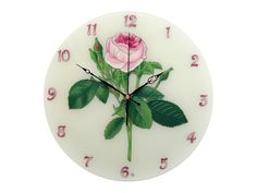 Rose wall clock hand-painted stained glass with porcelain   Etsy Wall Clock Hands, Wall Clocks, Dog Lover Gifts, Dog Gifts, Silver Wall Clock, Clock Shop, Spiritual Symbols, Rose Wall, Thing 1