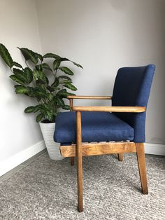 Parker Knoll Mid-Century Chair, in Abraham Moon Wool. Retro Furniture, Large Furniture, Modern Chairs, Midcentury Modern, Parker Knoll, Mid Century Chair, Charcoal Color, Seat Cushions, Natural Wood