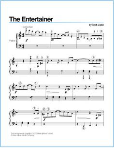 The Entertainer (Joplin) | Printable Sheet Music for Piano - http://wavemusicstudio.com/free-sheet-music/the-entertainer-piano-sheet-music.php