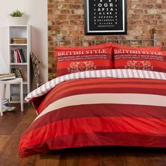 Richmond Red bedding - Great stripped bedding perfect for teenagers to create that boys pad look