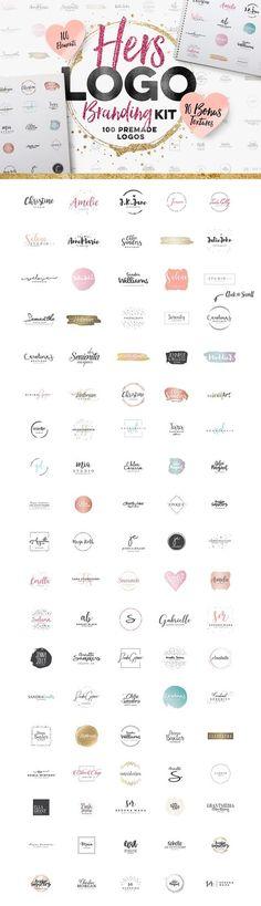 Feminine logo design kit. 100 premade logos with bonus textures. Beautiful, creative designs for blog, web or business branding.