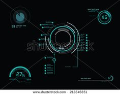 Futuristic green infographics as head-up display - stock vector