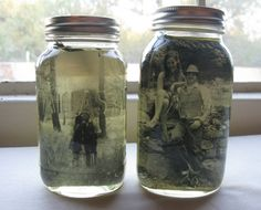 "such a cute idea and great way to remember things while keeping the rustic look DIY: ""Vintage"" Photo Mason Jar Centerpiece"
