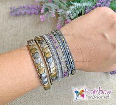 Handmade jewelry and more! Handmade Bracelets, Handmade Jewelry, Handmade Art, Bangles, Rainbow, Purple, Bracelets, Rain Bow, Rainbows