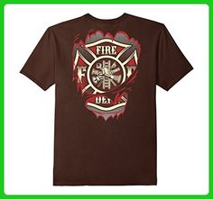 Mens Firefighter Torn Shirt | Courage Bravery Hero 2XL Brown - Careers professions shirts (*Amazon Partner-Link)