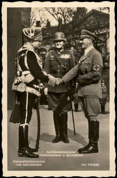 Click to view 3rd Reich Germany Hitler Mackensen Blomberg Hoffmann Nr624 RPPC…
