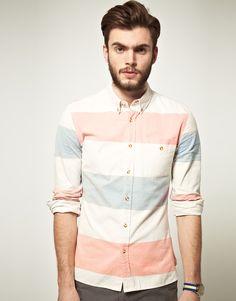 ASOS   ASOS Oxford Shirt In Block Stripe at ASOS