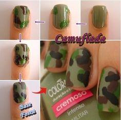 Unha Militar – Como fazer essa tendência Colorful Nail Designs, Nail Art Designs, School Nails, Best Acrylic Nails, Mani Pedi, Diy Nails, Nails Inspiration, Nail Colors, Brushing