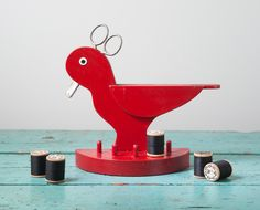 Vintage Folk Art Sewing Caddy Red Wooden Bird - Handmade Spool Holder Bird Figurine Sewing with Scissors