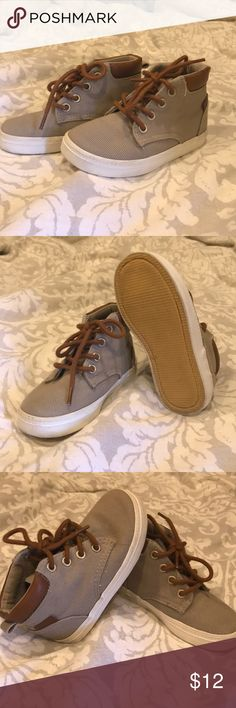 High tops Super cute tan and brown high tops! toddler boys size 8. EUC only worn once or twice...my son has fat little feet which made these too hard to get on and off. Purchased from old navy. Old Navy Shoes