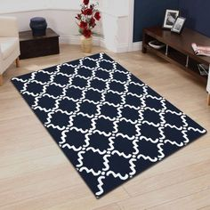 Superior Moroccan Lattice Hand Hooked & Hand Tufted Wool Area Rug, White