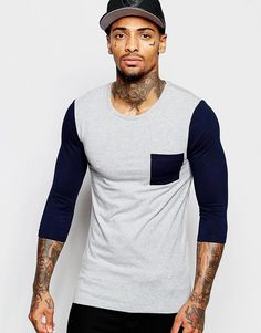 Super fede ASOS Extreme Muscle 3/4 Sleeve T-Shirt With Contrast Pocket And Sleeves ASOS Langærmede T-Shirts til Herrer i behagelige materialer