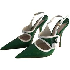 Pre-owned Miu Miu Patent Leather Heels ($430) ❤ liked on Polyvore featuring shoes, pumps, green, women shoes heels, pre owned shoes, miu miu, green patent shoes, patent leather pumps and green pumps