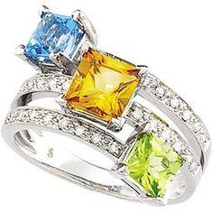 White and yellow gold diamonds and gemstones