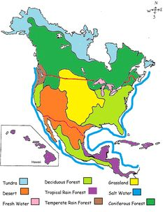 biome map of north america for the girl scouts animal habitats junior badge