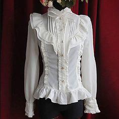 Moon's Elegy Long Sleeve Pure White Cotton Princess Lolita Blouse - EUR € 49.49