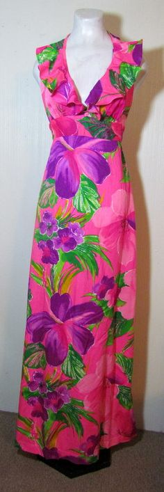 Gorgeous 1960's Pomare Hawaiian Dress.  Etsy.
