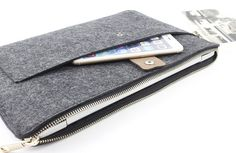 Zipper Felt Macbook sleeve Macbook Air case Macbook by FeltSJie