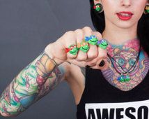 TMNT RINGS , adjustable rings , Ninja Turtles , Turtle power ! Kids rings , geeky , adult rings , cosplay, kitsch