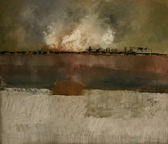 Paint, Brown, Olive, Beige, Scratches, Black, elemenop:  landscape 120 x 140cm (by brinksruud)  Ruud Brinks