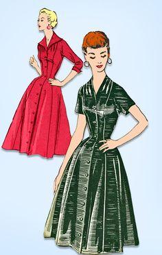 1950s Vintage Mail Order Sewing Pattern 2094 Uncut Misses Princess Dress Sz 28 B