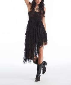 Love this Black Ruffle Convertible Elley Strapless Dress by Rancho Estancia on #zulily! #zulilyfinds