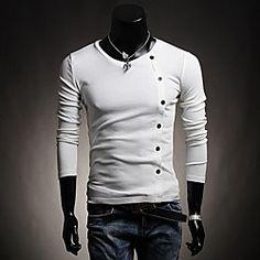 Men's Decorative Buttons Solid Color Long Sleeve T-shirt   LightInTheBox
