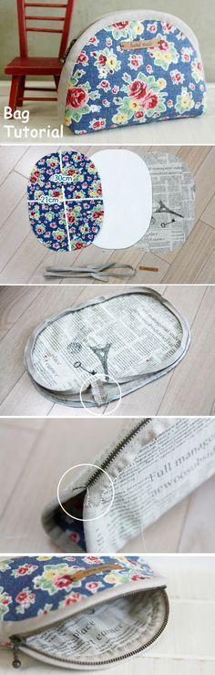 Zippered Cosmetic Bag. DIY Pattern & Tutorial in Pictures. http://www.handmadiya.com/2015/11/makeup-bag-tutorial.html