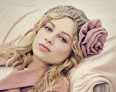 Beige Rose Chiffon Flower Slouchy Hat MADE TO ORDER