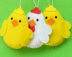 Felt Birds Ornaments, Easter Chickens Felt Ornaments, home decor, Felt Birds, felt easter eggs, Set of 3 pieces hanging (or magnets)