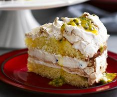 Passionfruit meringue cake recipe - By Australian Women& Weekly, Layers of featherlight cake, meringue and passionfruit cream make this cake perfect for a particularly special celebration. No Bake Desserts, Delicious Desserts, Yummy Food, Baking Recipes, Cake Recipes, Dessert Recipes, Passion Fruit Cake, Meringue Cake, Cake